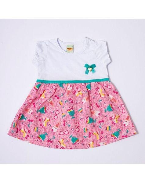 Vestido Infantil Meia Malha Pimentinha 6774 Branco 8e1394daef1