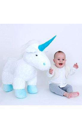 brinquedo unicórnio de pelúcia azul infantil da marca brumar